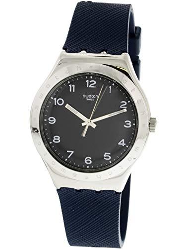 Swatch Inkwell YWS102 - Reloj de pulsera de cuarzo suizo con goma plateada