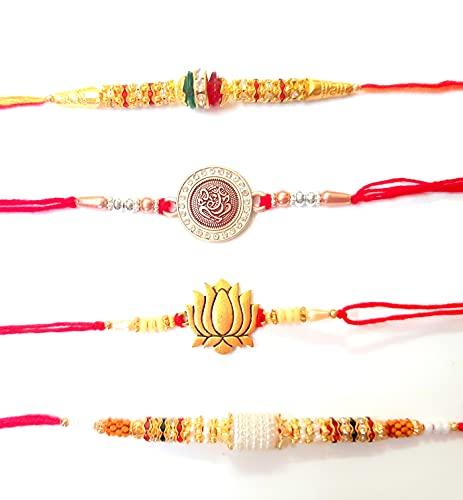 Sarvam Juego de 4 pulseras Rakhi Raksha Bandhan para regalo de tu hermano indio Rakhi Raksha Bandhan Festival
