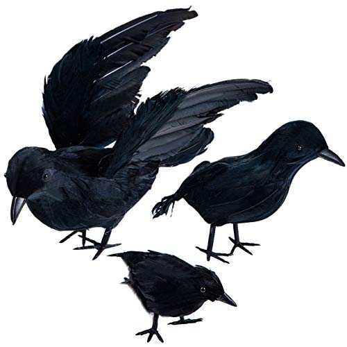 Darnassus 3-Pack Halloween Black Feathered Crow Realistic Handmade Crow Prop for Halloween Party Outdoors and Indoors Decoration