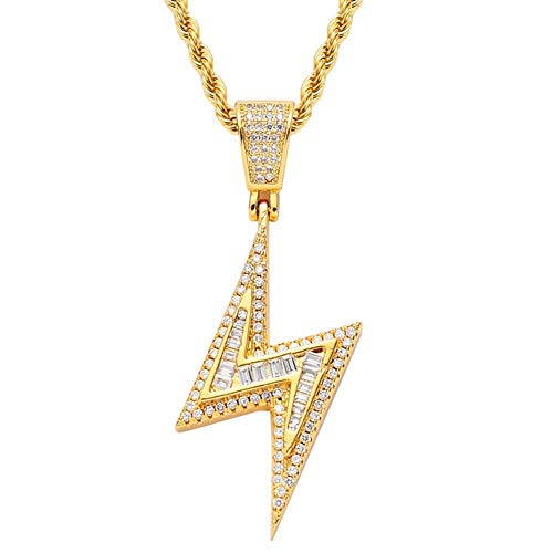DFWY Collar Colgante Cz Hip Hop Relámpago Helado para Mujeres Hombres, 18K Oro Chapado Zircón Cadena de Giro de Acero Inoxidable con Micro Pave Joyería de Diamantes Simulados (Color : Gold)