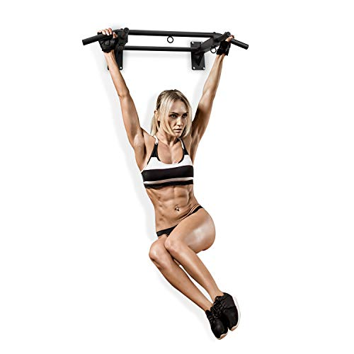 Klarfit Pro X Pull Up Bar • Chin Ups • 3 Grip Positions • Hangers for Punching Bags, Power Ropes, Sling Trainers • Wall Mounting • Heavy Duty Anchors • Max. Load: 770 lb • Powder-Coated Steel • Black