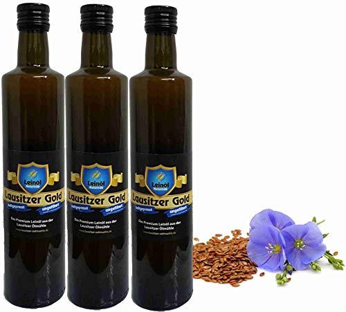 Leinöl Lausitzer Speiseleinöl Lausitzer Gold 3 x 500 ml ungefiltertes Premium Leinöl kaltgepresst und frisch abgefüllt