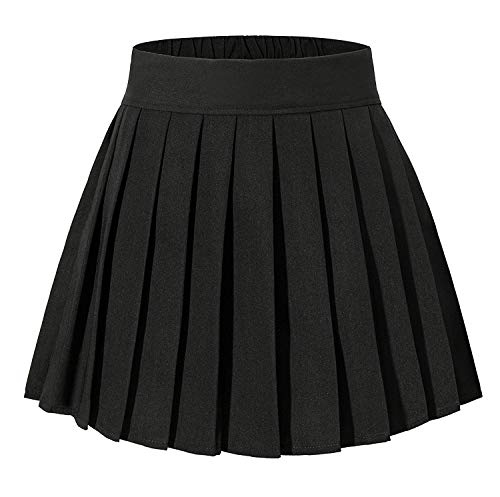 Abberrki Womens School Uniform High Waisted Short Pleated Skirt (Black, S)