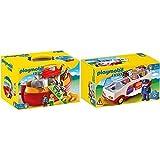 PLAYMOBIL 1.2.3 Playset Maletín, Arca De Noé, Multicolor, 18M+ (6765) + 1.2.3 Autobús, A Partir De 1.5 Años (6773)
