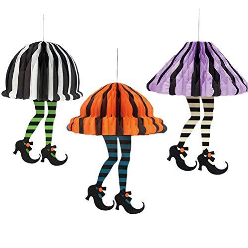 KESYOO6 unids Adornos de Halloween Colorido Papel Colgando Linternas Rayas Falda Falda Tacones Altos Bola Linterna para Hotel Familia Decoración de Halloween