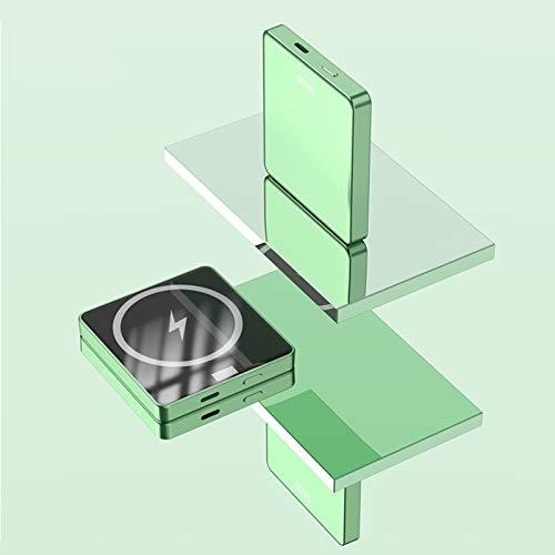 Banco de Energía Inalámbrico Magnético de 5000 mAh, Potencia de Respaldo de Carga Inalámbrica Segura Magnética de 15 W, Adecuado para iPhone 12/12 Mini/Pro/Max (Verde 5000mAh)