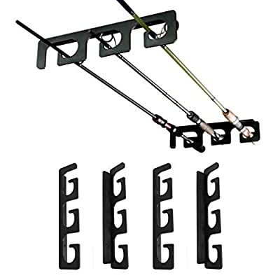 Ceiling Rod Rack Fishing Rod Rack Storage for Ceiling or Wall-Ultra Sturdy Strong Weatherproof Indoor and Outdoor Use, Holds 6 Rods