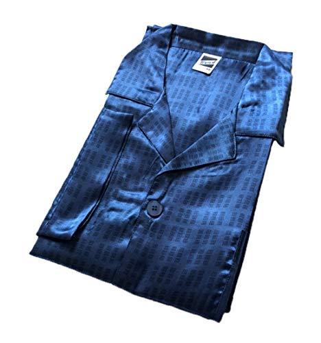 Edler Herren Satin-Pyjama in Übergröße, durchknöpfbarer Schlafanzug - 29849, Größe2:60, Farbe:Navy