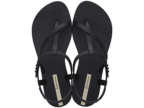Ipanema Sandalen Damen Zehen-Sandale Gummi-Sandalen Zehentrenner Knöchelriemchen T-Spangen Strap Steg Flipflops-Sandale Druckknopf-Verschluss Wish 26452 (Schwarz (20766 Black), 40)