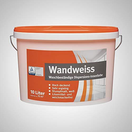 BODENMEISTER 1032 Wandweiß Wandfarbe Innenfarbe hohe Deckkraft Dispersionsfarbe, weiß matt, 10l