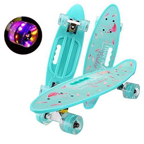 Mädchen Skateboard, 24 Zoll, LED Luminous Wheel Retro Skateboard Geeignet für Anfänger Teen Kinder Jungen Mädchen Geschenke 7