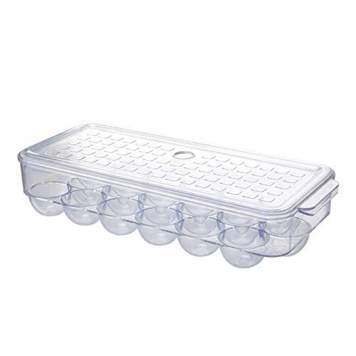XIAOXIA Nuevo plástico refrigerador huevo caja cocina pato huevo almacenamiento rack caja 1 transparente cuadrado huevo huevo caja