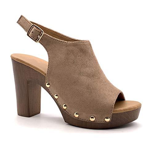 Angkorly - Damesmode schoenen Sandalen Mules - hoge hakken - Vintage/Retro - Platform - Hout Effect - Studded Block hoge hak 10 cm
