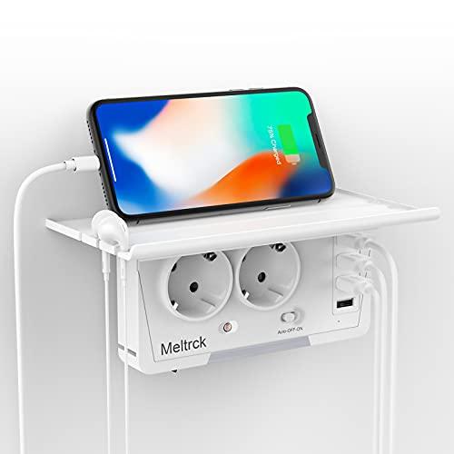 USB Steckdose,Meltrck 6 in 1 Mehrfachsteckdose mit USB Ladegerät,Steckdosen mit 4 USB Anschluss(3.1A),Steckdosenadapter Mehrfachstecker mit USB Stecker Kompatibel für Phone Laptop