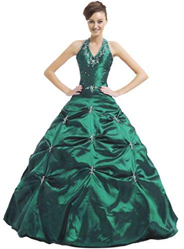 Zorayi Damen A-Linie Lang TAFT Halfter Abendkleid Partykleid Ballkleider Smaragd Größe 38