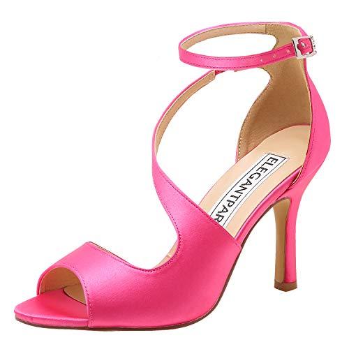 ElegantPark HP1565 Zapatos para Novia Mujer Peep Toe Sandalias de Boda Tacón Correa De Tobillo Satén Zapatos de Fiesta Novia Rosa EU 38