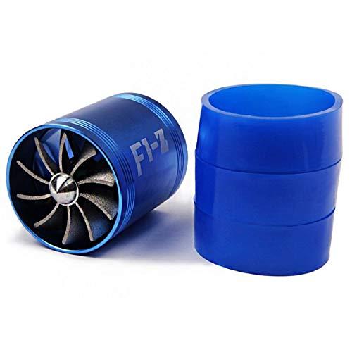 Double ventilateur à turbine, Auto Voiture Turbonator filtre à air d'admission au gaz Fuel Saver Turbocompresseur avec 3 supports en caoutchouc, Bleu