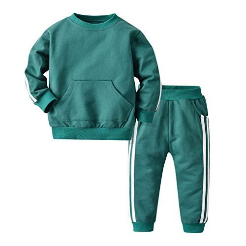 Livoral Kleinkind Baby Jungen Langarm Pullover Tops Hosen Sportswear Outfits Trainingsanzug(Grün,2-3 Jahre)