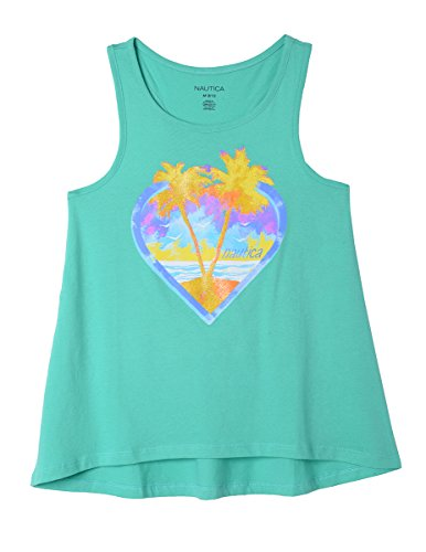 Nautica Girls' Little Sleeveless Fashion Tank Top Shirt, Aqua Green Palm Heart, 4