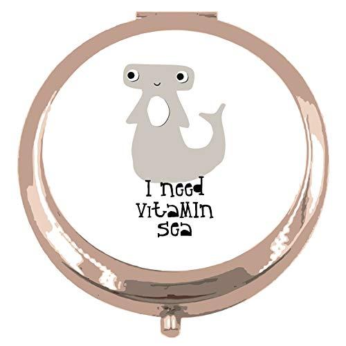 Recorte el tiburón martillo, necesito vitamina mar declaración compacto espejo de bolsillo - oro rosa forma círculo redondo