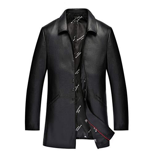 Heren Plus Size Zakelijk Leren Jas Herfst Winter Dikker Winddicht Trench Jas Man Plus Katoen Warm Blazer Bovenkleding Zwart Bruin