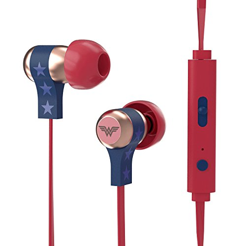 Tribe DC Comics - Auriculares in-ear con cable y micrófono I In-Ear estéreo para para Iphone, Android, Movil, PS4, XBOX, PC, Computador - diseño Wonder Woman
