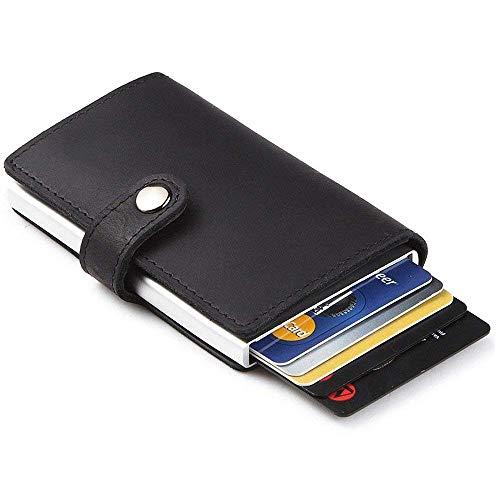 Tomyeer Kreditkartenetui mit RFID-blockierender Geldbörse für Herren, Schwarz, 5 Stück