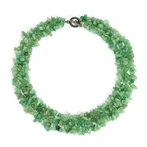 Bling Jewelry Verde Aventurine Piedra Preciosa Chunky Cluster Bib Chips Multi Strand Statement Collar para Mujeres Plata Placa Cierre