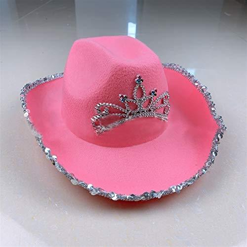 LCM Western Stil Tiara Cowgirl Hut for Frauen Mädchen Kinder Rosa Tiara Top Cap Cowboy Hüte Urlaubskostüm Party Hut Jazz Wide Bridr Hut Für Männer Dauert Ihn und Frauen (Color : Pink)