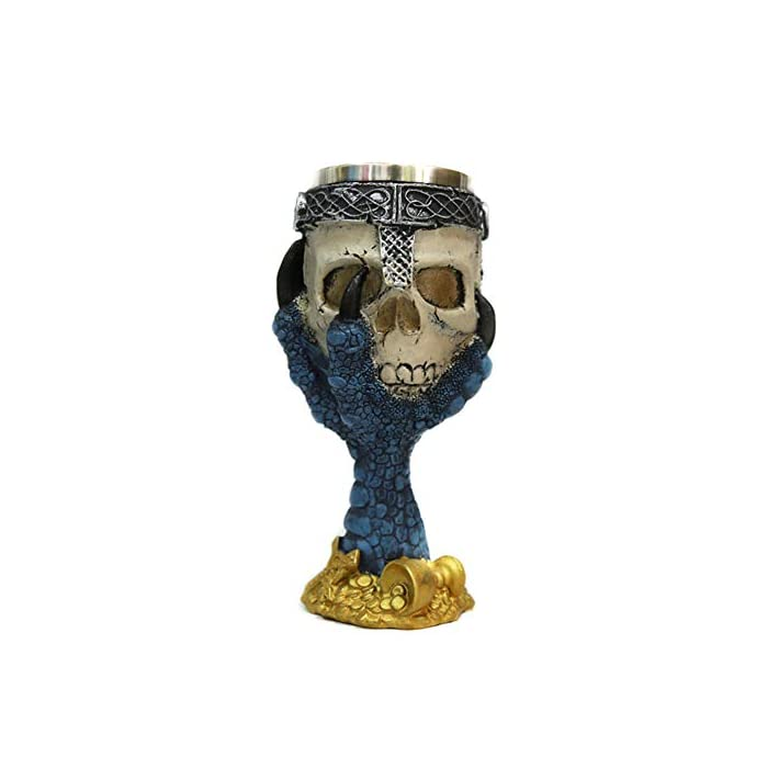 Tvoip Horrible Resin Stainless Steel Skull Goblet Retro Claw Wine Glass Gothic Cocktail Glasses Wolf Whiskey Cup Party Bar Drinkware Skull1