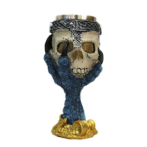 Tvoip Horrible Resin Stainless Steel Skull Goblet Retro Claw Wine Glass Gothic Cocktail Glasses Wolf Whiskey Cup Party Bar Drinkware (Skull1)