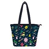 Bolsas de verano para palmas y velas, bolsas de hombro para mujer, resistente al agua, bolsa de compras duradera, con bolsillos con cremallera, para mujeres y niñas