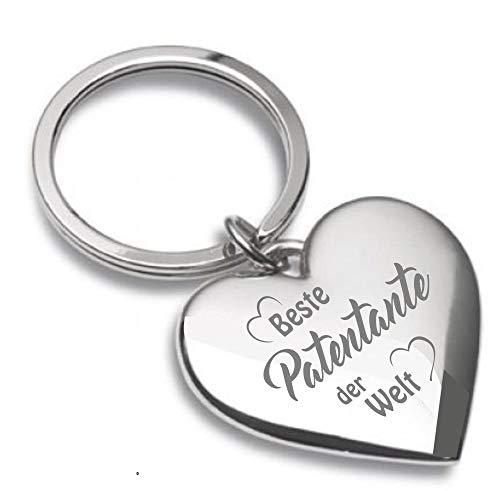 Schlüsselanhänger Herz silberglänzend mit Gravur Beste Patentante der Welt - Almere 05