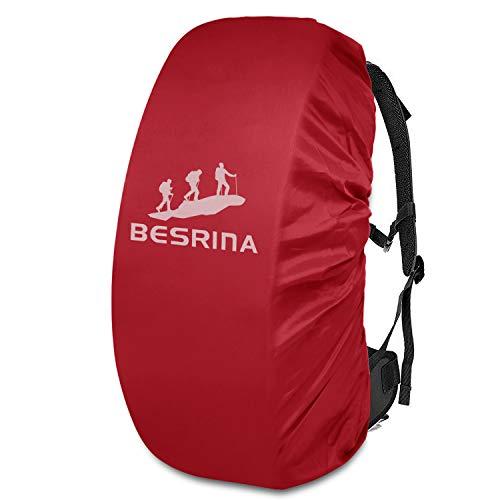 Besrina - Funda impermeable para mochila (15-90 L), correa con hebilla cruzada antideslizante y reflectante, impermeable, para senderismo, camping, viajes, ciclismo, Red (Rojo) - BACK-COV-10