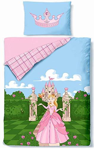 Aminata Kids Kinder-Bettwäsche 100-x-135 cm Prinzessin Princess Baby-Bettwäsche aus Baumwolle Renforce alt-rosa hell-blau grün Mädchen Wende-Bettwäsche