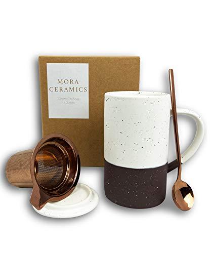 Mora Ceramics Tea Cup with Loose Leaf Infuser, Spoon and Lid, 12 oz, Microwave and Dishwasher Safe Coffee Mug - Rustic Matte Ceramic Glaze, Modern Herbal Tea Strainer - Great Gift for Women, Garnet