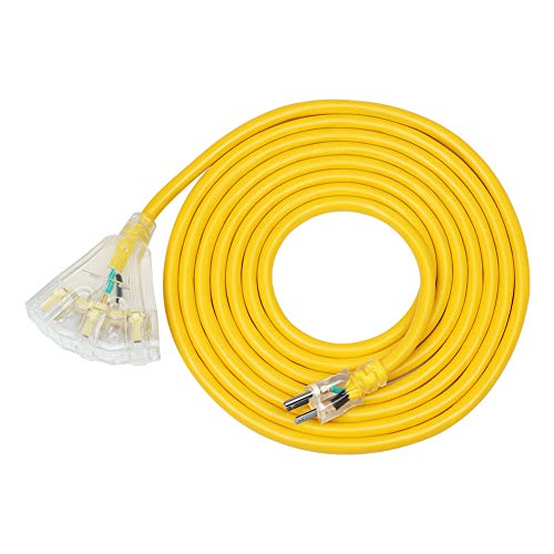 DEWENWILS 15 FT 12/3 Gauge Indoor/Outdoor Tri-Tap Extension Cord Splitter, SJTW 15 Amp Yellow Outer Jacket Contractor Grade Heavy Duty Power Cable with LED Lighted Plug, UL Listed