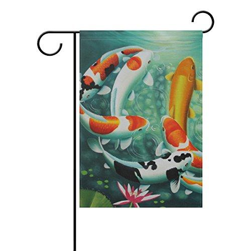 HEOEH Japonais Koi Carps Poisson Home Garden Yard Drapeau – Double Face extérieur décoratif Drapeau 30,5 x 45,7 cm 28x40(in) Multicolore