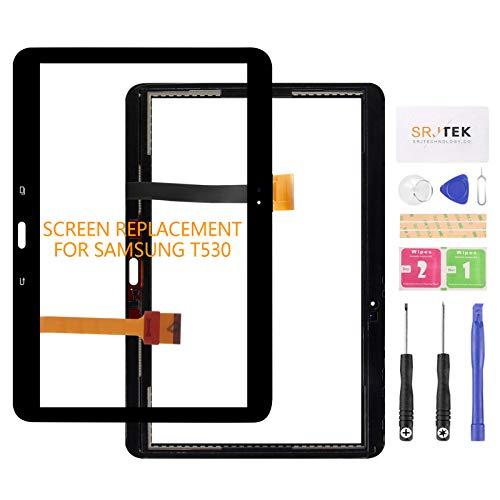 srjtek per Samsung Galaxy Tab 4 10.1 Sostituzione del Pannello di Vetro digitalizzatore Digitizer Schermo Touch SM-T530 T531, con preinstallato + Kit di Strumenti Nero Nero