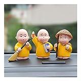 Zxwzzz 3pcs / Set del Coche Adornos de decoración Grueso Fool monjes Buda Maitreya muñeca Figura Automóviles Lindo Escritorio del hogar decoración Regalo de los Accesorios