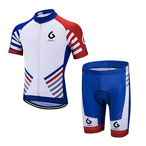 GWELL Herren Radtrikot Set Fahrrad Trikot Kurzarm + Radhose mit Sitzpolster Radsport-Anzüge Blau-1 L