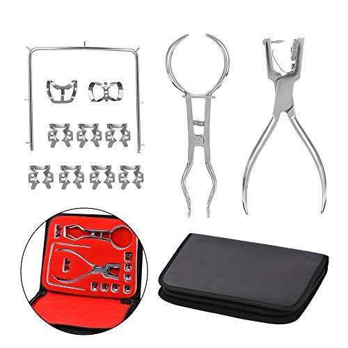 CWWHY Dental Kofferdam Kit, Kofferdam Perforator Puncher, Zahnpflege Zange KFO-Material, Zahnarzt Laborgerät, Mit Aufbewahrungstasche, 1 Set