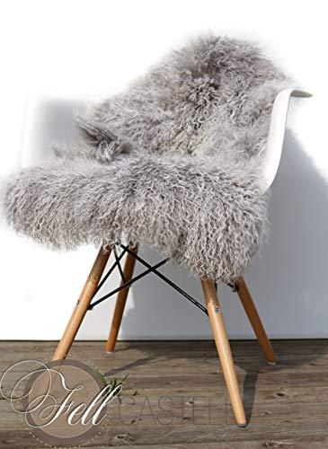 Tibetlammfell Grau Taupe Weiss 100x50 cm Tibet Lammfell Mongolisches Schaffell Tibetffell