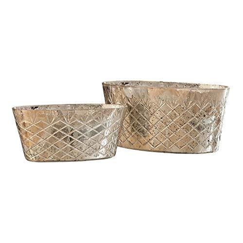 Loberon set van 2 violant, glas, H x B x D ca. 15,5/32 / 18 cm, antiek zilver
