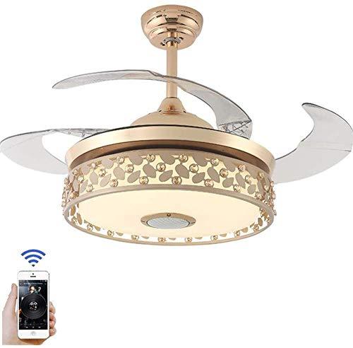 JIAN Exquisite Lighting ZjNhl plafondventilatoren met intrekbare plafondlamp, 4 LED-lampen, 3 kleurwisselingen, 3 snelheden, kroonluchter met afstandsbediening (goudkleurig)