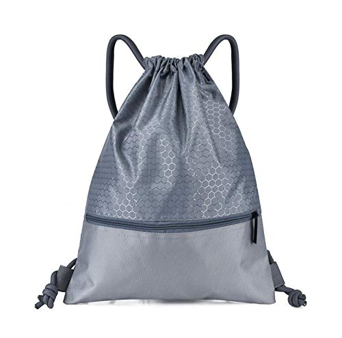 Fangoshop Basketball Bag Waterproof Nylon Drawstring Backpack Gray trumpet