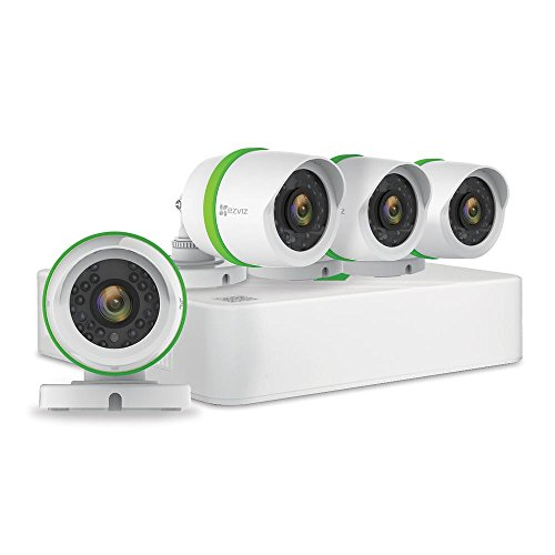 EZVIZ Full HD 1080p, 4 Weatherproof HD Security Camera, 4 Channel 1TB DVR Storage, 100ft Night Vision, Customizable Motion Detection Outdoor Surveillance System (Non-Retail Packaging)