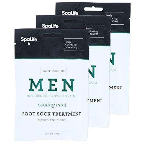 Spa Life Mens Cooling Mint Moisturizing Repairing Balm For The Working Feet (Foot Sock 3 Pairs)