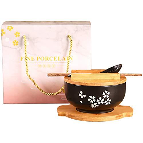 Vajilla de cocina japonesa tazón vintage fideos tazón de arroz tazón de fideos instantáneos de cerámica negra Palillos con tapa, cuchara y estera de bambú Caja de regalo (B-16CM(6.25INCHES))