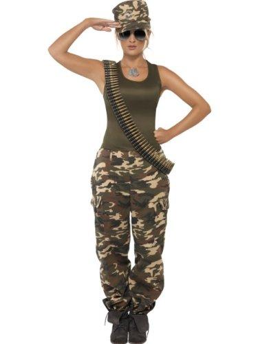 Smiffys Deluxe Costume Camouflage Kaki pour Femme comprend la Veste et les Pantalons
